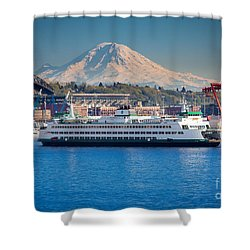 Seattle Harbor Shower Curtain by Inge Johnsson