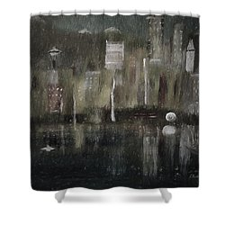 Seattle In The Rain Cityscape Shower Curtain