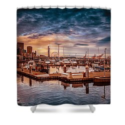 Seattle Marinescape. Shower Curtain