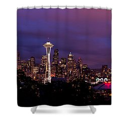 Seattle Night Shower Curtain by Chad Dutson
