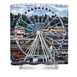 Seattle Port Ferris Wheel Shower Curtain