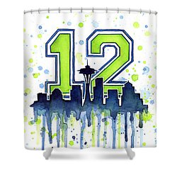 Seattle Seahawks 12th Man Art Shower Curtain by Olga Shvartsur