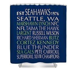Shower Curtain featuring the digital art Seattle Seahawks by Jaime Friedman