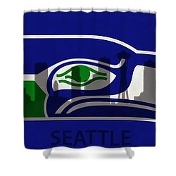 Seattle Seahawks On Seattle Skyline Shower Curtain by Dan Sproul