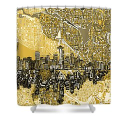 Seattle Skyline Abstract 2 Shower Curtain