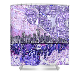 Seattle Skyline Abstract 3 Shower Curtain