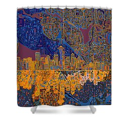 Seattle Skyline Abstract 4 Shower Curtain