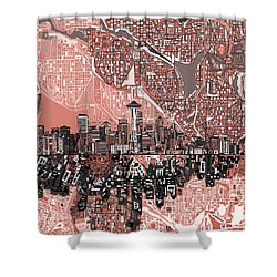 Seattle Skyline Abstract 5 Shower Curtain