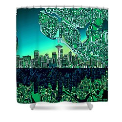 Seattle Skyline Abstract Shower Curtain