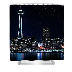 Seattle Skyline At Night With Full Moon Shower Curtain by Valerie Garner