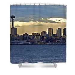 Seattle Skyline In Twilight Shower Curtain