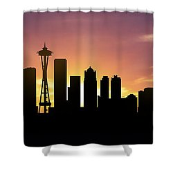 Seattle Skyline Panorama Sunset Shower Curtain by Aged Pixel