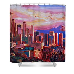Seattle Skyline With Space Needle And Mt Rainier Shower Curtain by M Bleichner