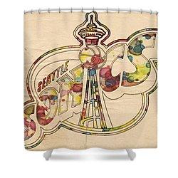 Seattle Sonics Retro Poster Shower Curtain by Florian Rodarte