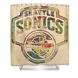 Seattle Supersonics Poster Art Shower Curtain by Florian Rodarte