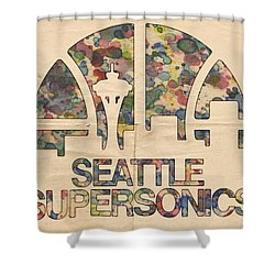 Seattle Supersonics Poster Vintage Shower Curtain by Florian Rodarte