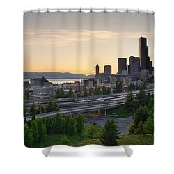 Shower Curtain featuring the photograph Seattle Washington Downtown City Sunset by JPLDesigns