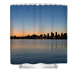 Shower Curtain featuring the photograph Seattle Washington Waterfront Skyline At Sunrise Panorama by JPLDesigns