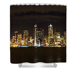 Seattle Waterfront At Night Panoramic Shower Curtain by Chris McKenna