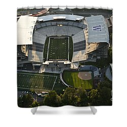 Seattle With Aerial View Of The Newly Renovated Husky Stadium Shower Curtain