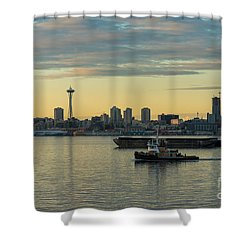 Seattles Working Harbor Shower Curtain by Mike Reid