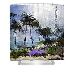 Shower Curtain featuring the drawing Seaview Terrace by Anthony Fishburne