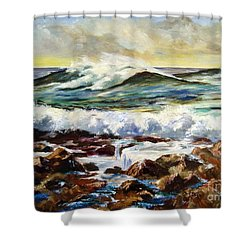 Shower Curtain featuring the painting Seawall by Lee Piper
