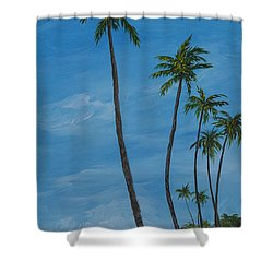 Seawall Palms Shower Curtain by Darice Machel McGuire