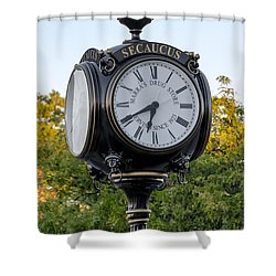 Secaucus Clock Marras Drugs Shower Curtain by Susan Candelario