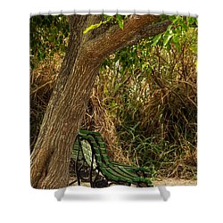 Secluded Park Benches Shower Curtain by Jess Kraft