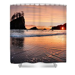 Second Beach Sunset Shower Curtain by Leland D Howard