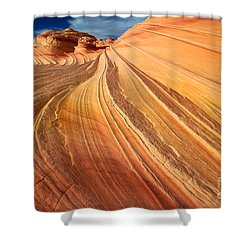 Second Wave Surf Shower Curtain by Inge Johnsson