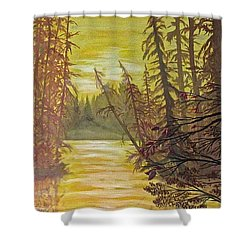 Shower Curtain featuring the painting Secret Passage by Bonnie Heather