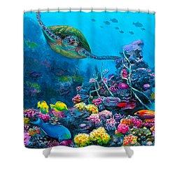 Secret Sanctuary - Hawaiian Green Sea Turtle And Reef Shower Curtain by Karen Whitworth
