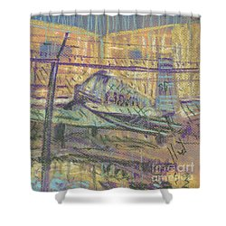 Shower Curtain featuring the painting Secured Planes by Donald Maier