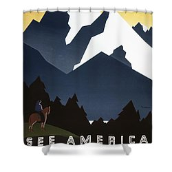 See America - Montana Mountains Shower Curtain by Georgia Fowler