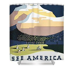 See America - Montana Shower Curtain by Georgia Fowler