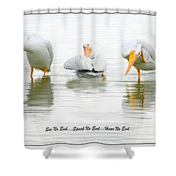 See No Evil...speak No Evil... Hear No Evil Shower Curtain by Mariarosa Rockefeller