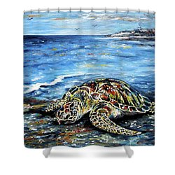 See Weed Turtle Shower Curtain