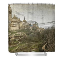 Segovia View Shower Curtain by Joan Carroll
