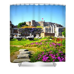 Shower Curtain featuring the photograph Selcuk Castle by Lou Ann Bagnall