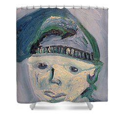 Self Portrait In Blue And Green Shower Curtain