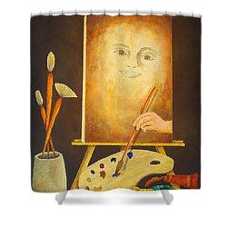 Self-portrait In Progress Shower Curtain by Pamela Allegretto