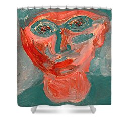 Self Portrait In Turquoise And Rose Shower Curtain