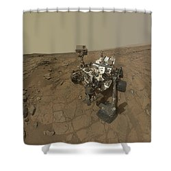 Self-portrait Of Curiosity Rover Shower Curtain by Stocktrek Images