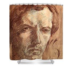Self Portrait Shower Curtain by Umberto Boccioni