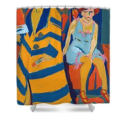 Self Portrait With A Model Shower Curtain by Ernst Ludwig Kirchner
