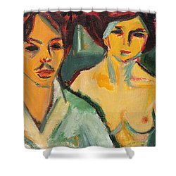 Self Portrait With Model Shower Curtain by Ernst Ludwig Kirchner