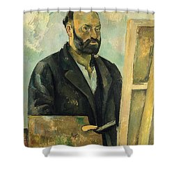Self Portrait With Palette Shower Curtain by Paul Cezanne