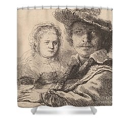 Self Portrait With Saskia Shower Curtain by Rembrandt